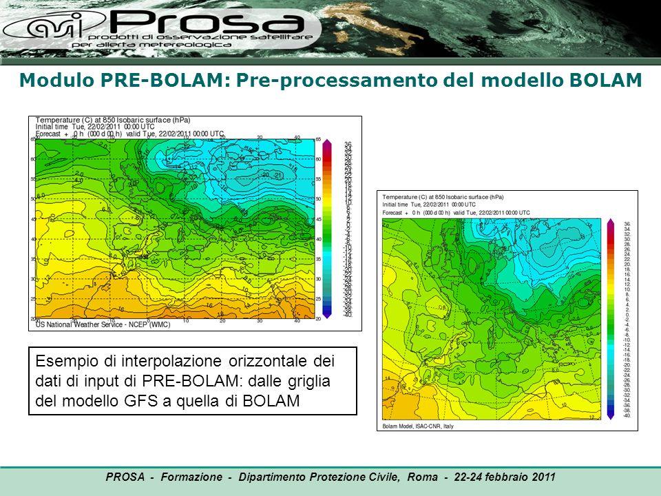 Modulo PRE-BOLAM: Pre-processamento del modello BOLAM OUTPUT PROSA - Formazione - Dipartimento Protezione Civile, Roma - 22-24 febbraio 2011 Esempio d