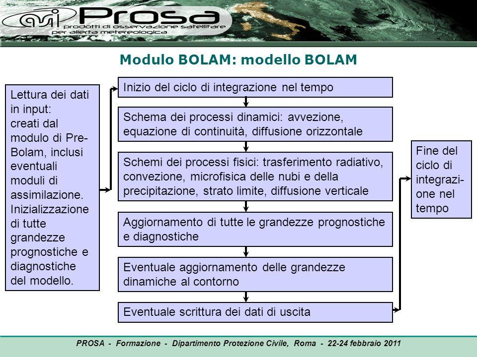 Modulo BOLAM: modello BOLAM OUTPUT Lettura dei dati in input: creati dal modulo di Pre- Bolam, inclusi eventuali moduli di assimilazione. Inizializzaz
