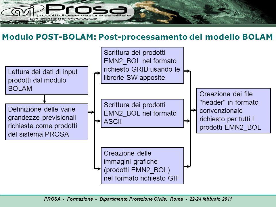 Modulo POST-BOLAM: Post-processamento del modello BOLAM OUTPUT Lettura dei dati di input prodotti dal modulo BOLAM PROSA - Formazione - Dipartimento P