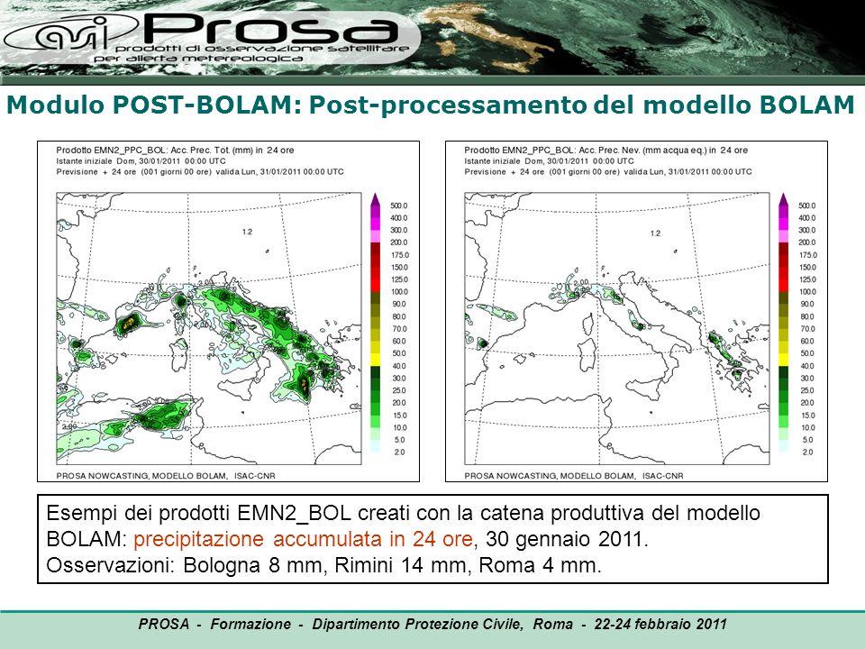 Modulo POST-BOLAM: Post-processamento del modello BOLAM OUTPUT PROSA - Formazione - Dipartimento Protezione Civile, Roma - 22-24 febbraio 2011 Esempi
