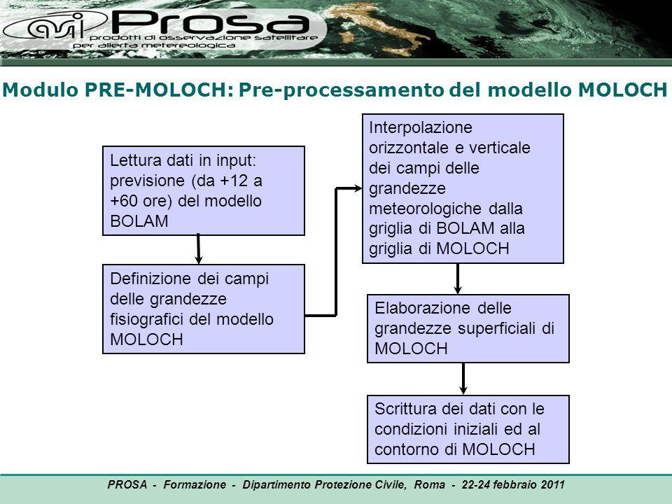 Modulo PRE-MOLOCH: Pre-processamento del modello MOLOCH OUTPUT Lettura dati in input: previsione (da +12 a +60 ore) del modello BOLAM PROSA - Formazio