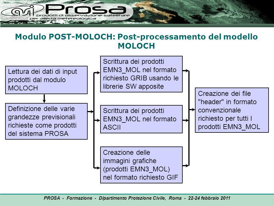 Modulo POST-MOLOCH: Post-processamento del modello MOLOCH OUTPUT Lettura dei dati di input prodotti dal modulo MOLOCH PROSA - Formazione - Dipartiment