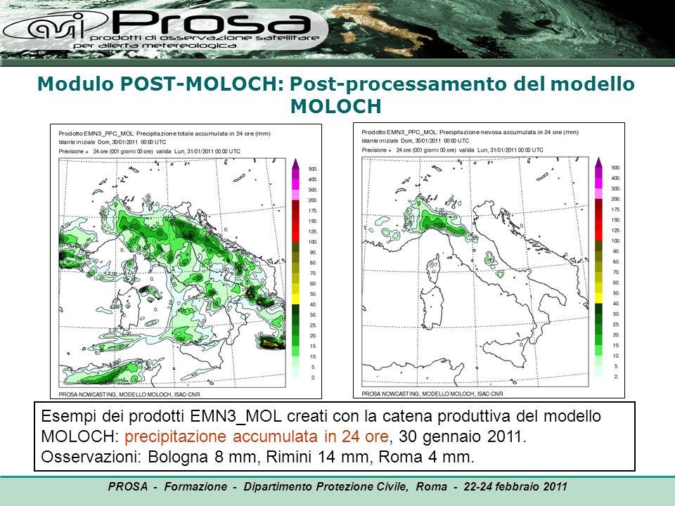 Modulo POST-MOLOCH: Post-processamento del modello MOLOCH OUTPUT PROSA - Formazione - Dipartimento Protezione Civile, Roma - 22-24 febbraio 2011 Esemp