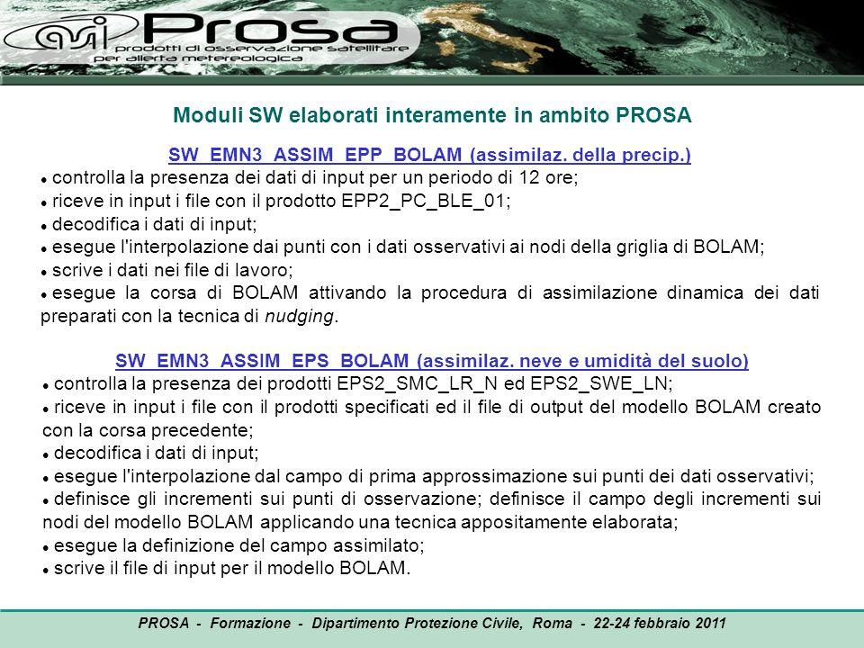 Moduli SW elaborati interamente in ambito PROSA SW_EMN3_ASSIM_EPP_BOLAM (assimilaz. della precip.) controlla la presenza dei dati di input per un peri