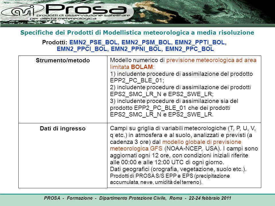 Specifiche dei Prodotti di Modellistica meteorologica a media risoluzione Prodotti: EMN2_PSE_BOL, EMN2_PSM_BOL, EMN2_PPTI_BOL, EMN2_PPCI_BOL, EMN2_PPN