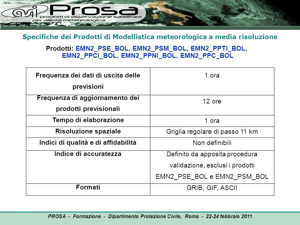 Frequenza dei dati di uscita delle previsioni Frequenza di aggiornamento dei prodotti previsionali Tempo di elaborazione Risoluzione spaziale Indici d