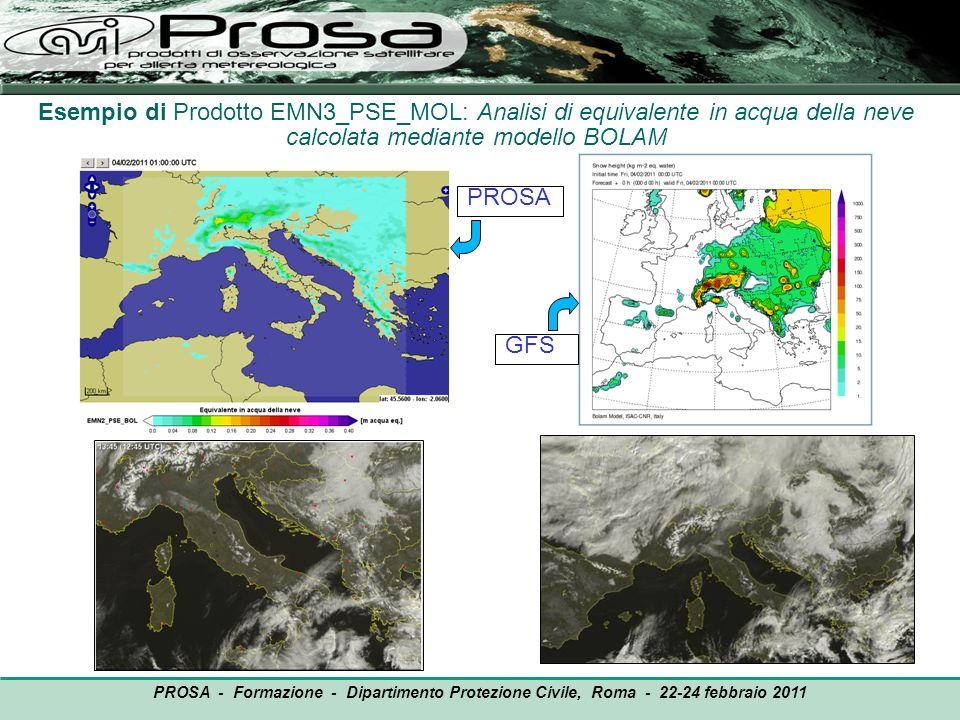 Esempio di Prodotto EMN3_PSE_MOL: Analisi di equivalente in acqua della neve calcolata mediante modello BOLAM PROSA GFS PROSA - Formazione - Dipartime