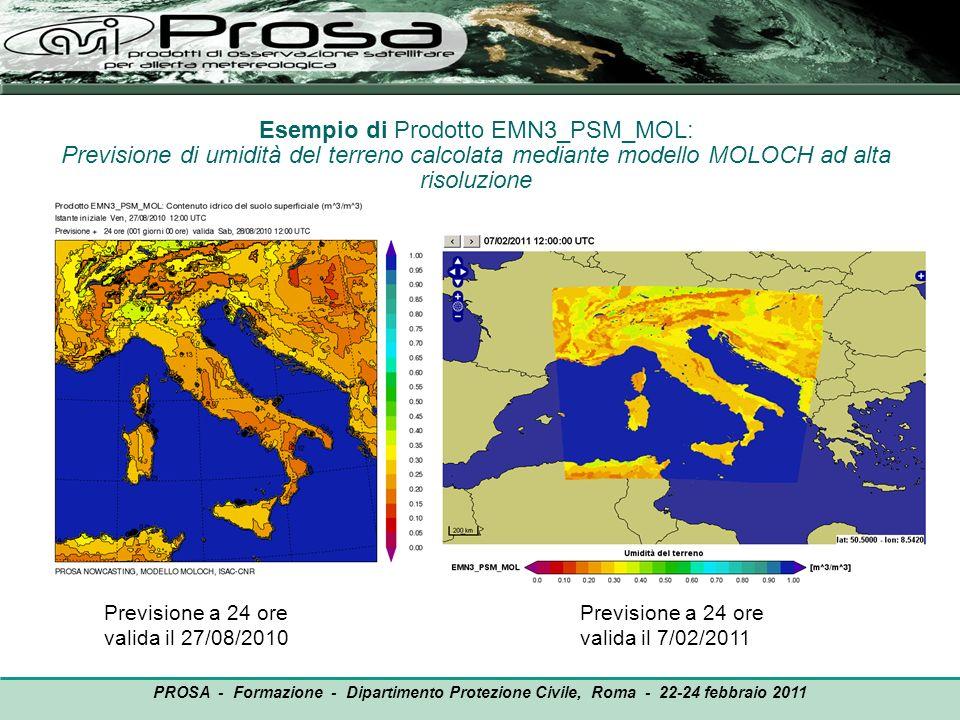 Esempio di Prodotto EMN3_PSM_MOL: Previsione di umidità del terreno calcolata mediante modello MOLOCH ad alta risoluzione Previsione a 24 ore valida i