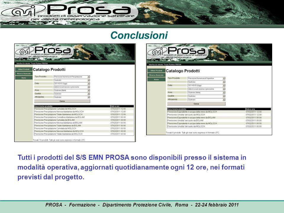Conclusioni Tutti i prodotti del S/S EMN PROSA sono disponibili presso il sistema in modalità operativa, aggiornati quotidianamente ogni 12 ore, nei f