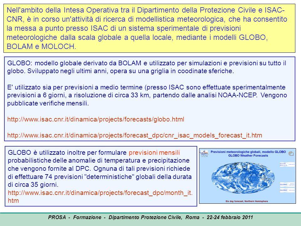 OUTPUT PROSA - Formazione - Dipartimento Protezione Civile, Roma - 22-24 febbraio 2011 Nell'ambito della Intesa Operativa tra il Dipartimento della Pr