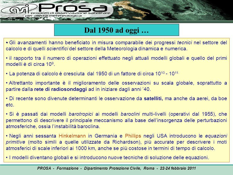 PROSA - Formazione - Dipartimento Protezione Civile, Roma - 22-24 febbraio 2011 Modelli globali e modelli ad area limitata - Quando il dominio di integrazione del modello meteorologico comprende tutta la superficie terrestre si parla di modello globale.