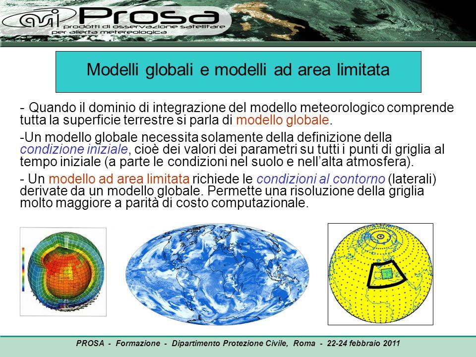 PROSA - Formazione - Dipartimento Protezione Civile, Roma - 22-24 febbraio 2011 ECMWF, ~ 60 km (globale idrostatico) Swiss Model, 14 km (LAM idrostatico) BOLAM, 6.5 km (LAM idrostatico) MC2, 3 km (LAM non idrostatico) Precipitazione osservata, accumulata su 12 ore Esempi di previsione quantitativa della precipitazione (QPF) da diversi modelli (Progetto MAP, 1999)