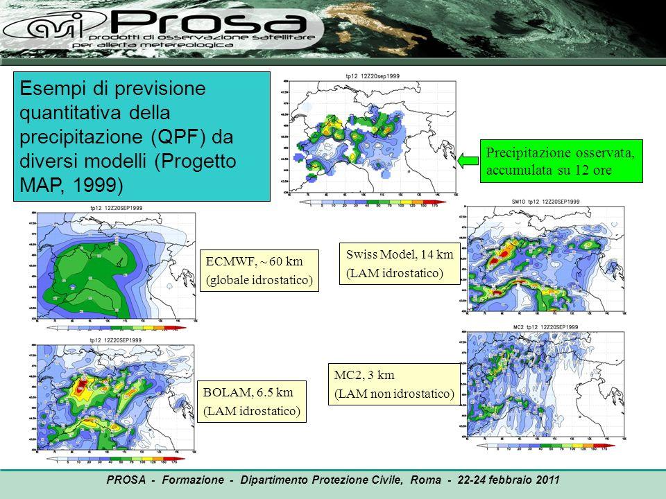 OUTPUT PROSA - Formazione - Dipartimento Protezione Civile, Roma - 22-24 febbraio 2011 Aumento nel tempo della risoluzione orizzontale dei modelli meteorologici Modello MOLOCH (ISAC): 2.3 km Modello ECMWF: attuale ~ 17 km.