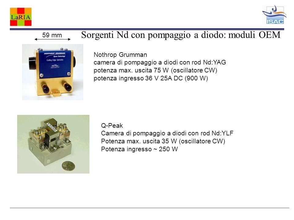 Sorgenti Nd con pompaggio a diodo: moduli OEM 59 mm Nothrop Grumman camera di pompaggio a diodi con rod Nd:YAG potenza max. uscita 75 W (oscillatore C