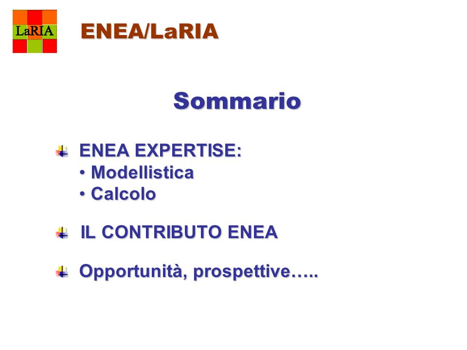 ENEA/LaRIA Sommario ENEA EXPERTISE: ENEA EXPERTISE: ModellisticaModellistica CalcoloCalcolo IL CONTRIBUTO ENEA IL CONTRIBUTO ENEA Opportunità, prospet