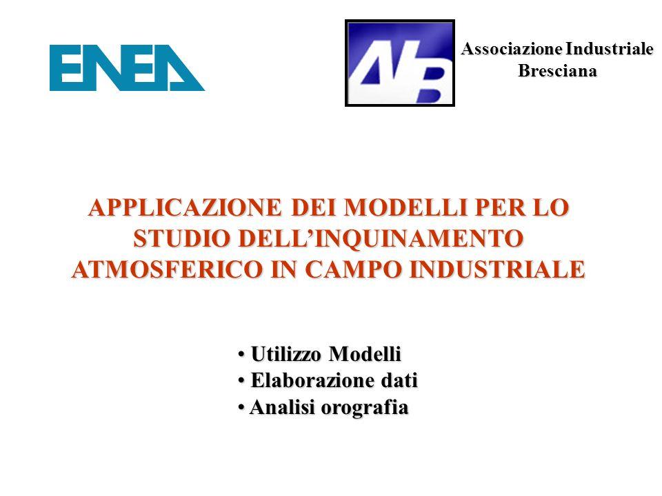Associazione Industriale Bresciana APPLICAZIONE DEI MODELLI PER LO STUDIO DELLINQUINAMENTO ATMOSFERICO IN CAMPO INDUSTRIALE Utilizzo Modelli Utilizzo