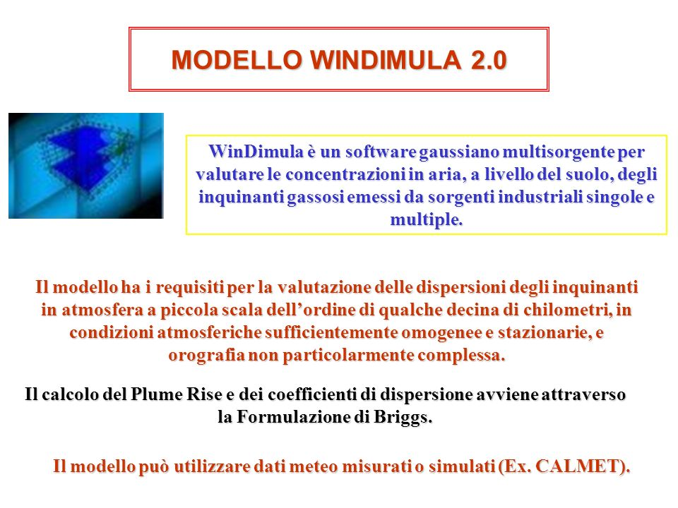 MODELLO WINDIMULA 2.0 WinDimula è un software gaussiano multisorgente per valutare le concentrazioni in aria, a livello del suolo, degli inquinanti ga