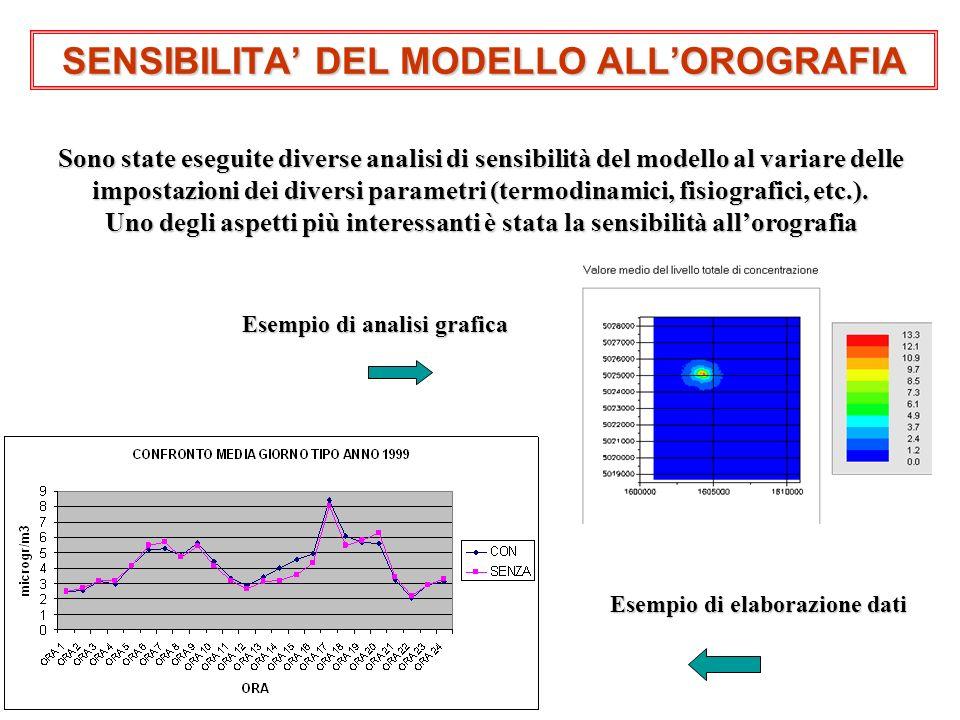 SENSIBILITA DEL MODELLO ALLOROGRAFIA Sono state eseguite diverse analisi di sensibilità del modello al variare delle impostazioni dei diversi parametr