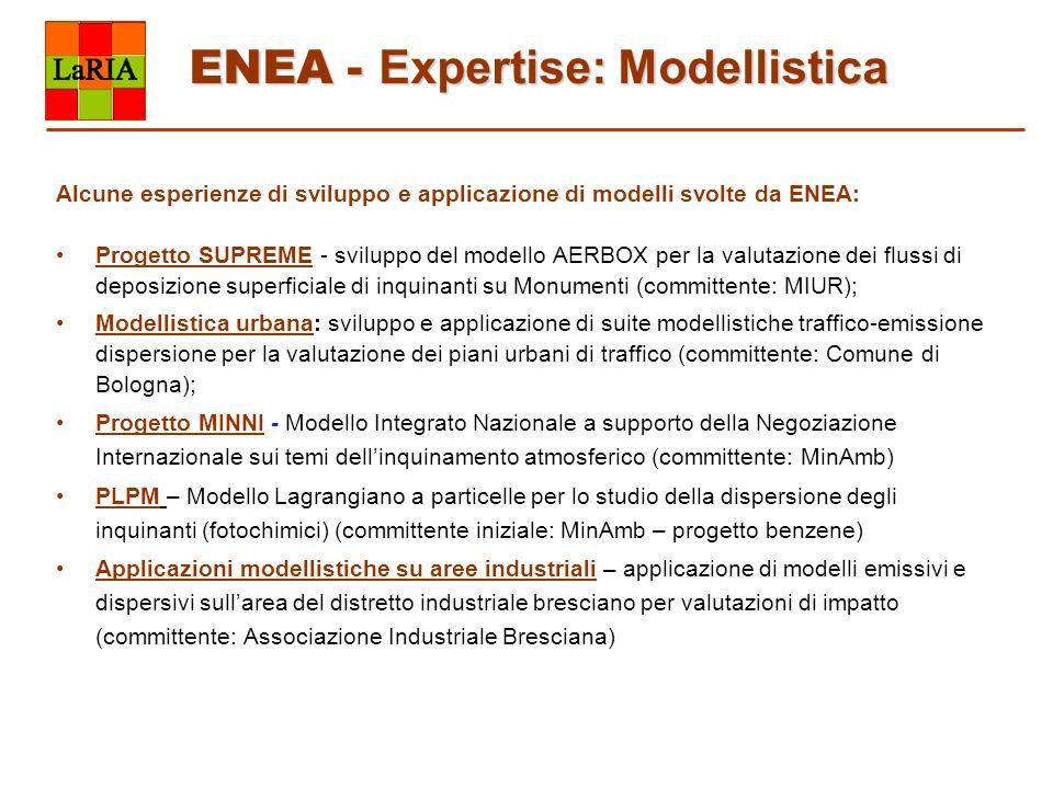 ENEA - Expertise: Modellistica Alcune esperienze di sviluppo e applicazione di modelli svolte da ENEA: Progetto SUPREME - sviluppo del modello AERBOX