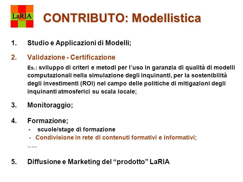 CONTRIBUTO: Modellistica CONTRIBUTO: Modellistica 1.Studio e Applicazioni di Modelli; 2.Validazione - Certificazione Es.: sviluppo di criteri e metodi
