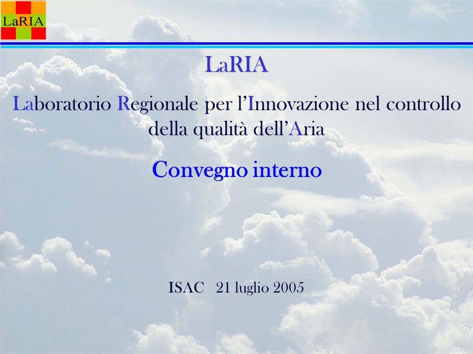 LaRIA Laboratorio Regionale per lInnovazione nel controllo della qualità dellAria Convegno interno ISAC 21 luglio 2005