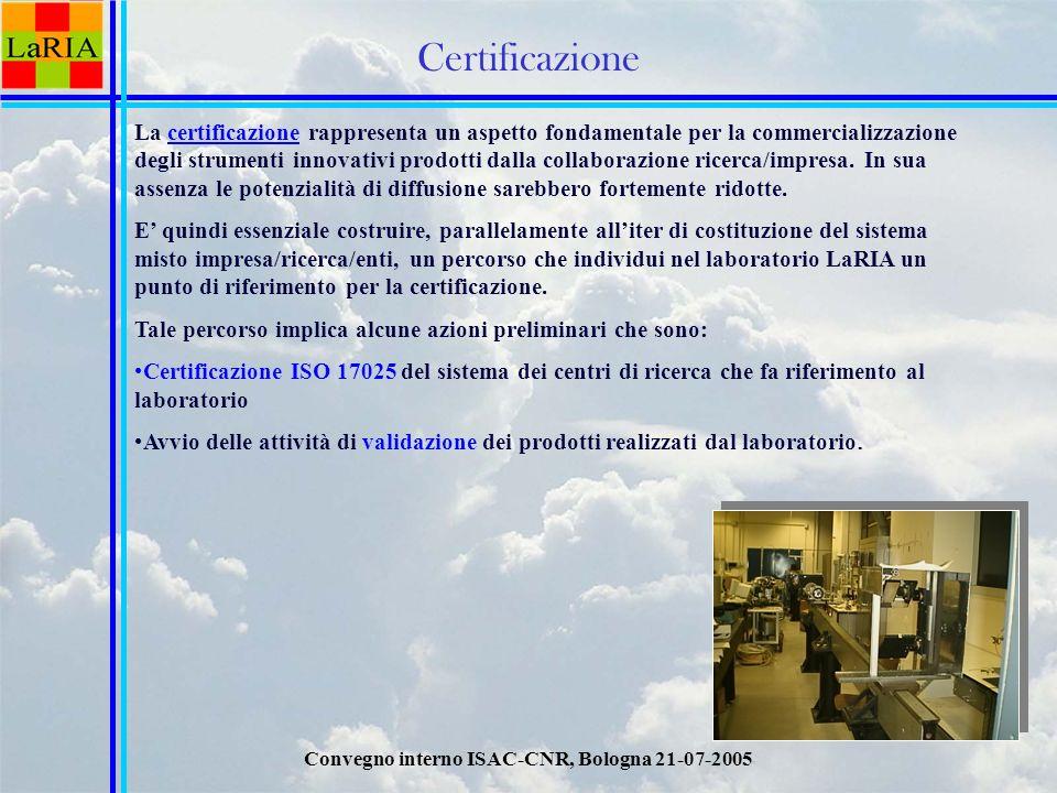 Convegno interno ISAC-CNR, Bologna 21-07-2005 Certificazione La certificazione rappresenta un aspetto fondamentale per la commercializzazione degli strumenti innovativi prodotti dalla collaborazione ricerca/impresa.