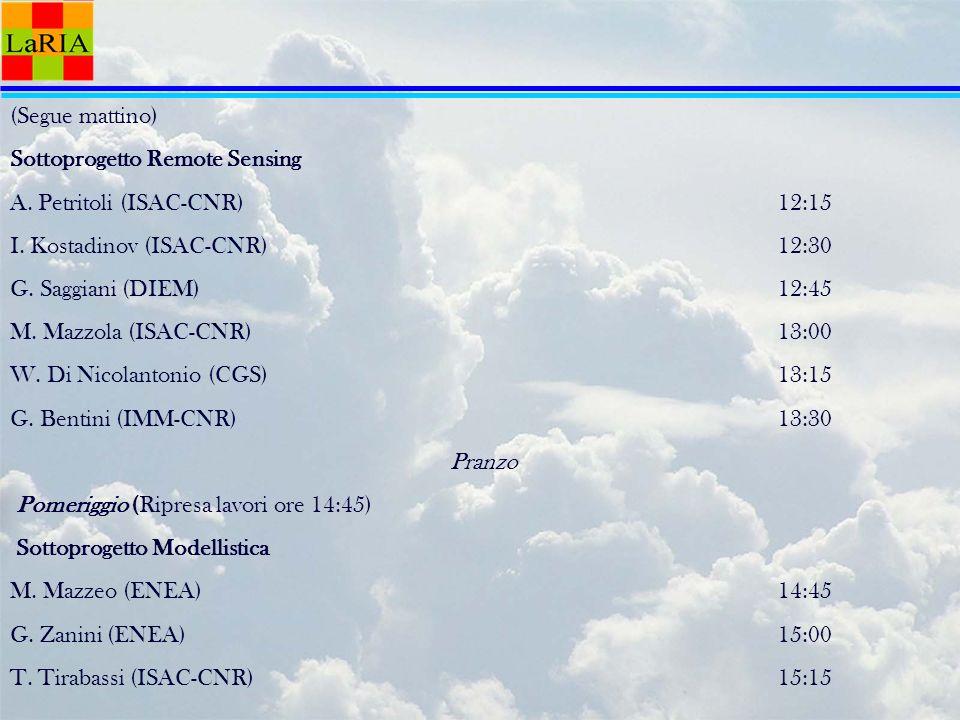 (Segue mattino) Sottoprogetto Remote Sensing A.Petritoli (ISAC-CNR)12:15 I.