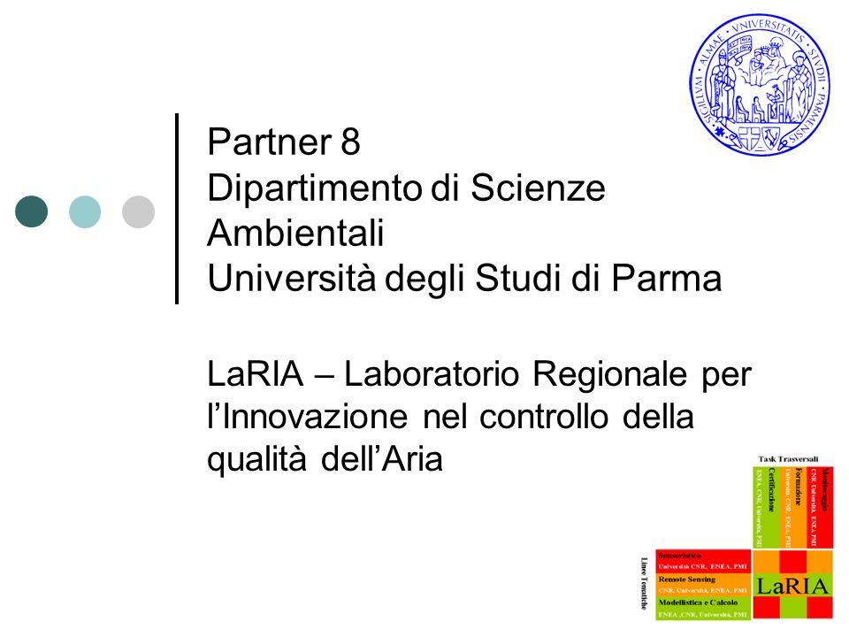 Partner 8 Dipartimento di Scienze Ambientali Università degli Studi di Parma LaRIA – Laboratorio Regionale per lInnovazione nel controllo della qualità dellAria