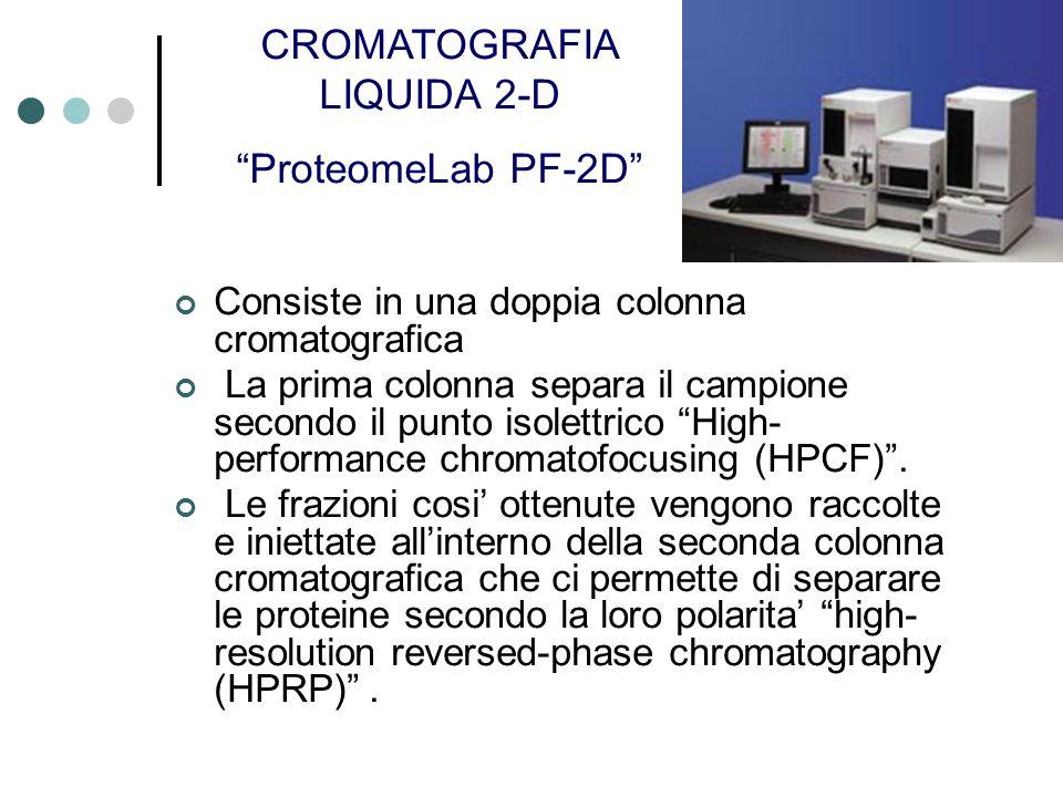 Consiste in una doppia colonna cromatografica La prima colonna separa il campione secondo il punto isolettrico High- performance chromatofocusing (HPCF).