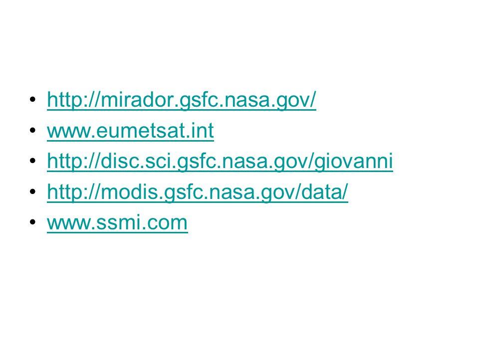 http://mirador.gsfc.nasa.gov/ www.eumetsat.int http://disc.sci.gsfc.nasa.gov/giovanni http://modis.gsfc.nasa.gov/data/ www.ssmi.com