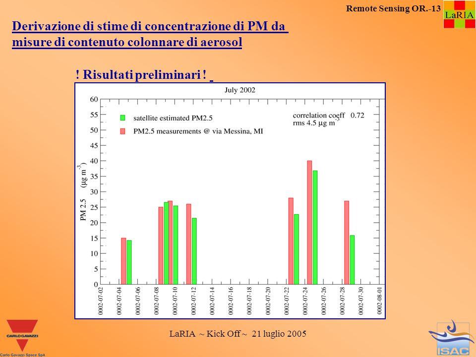 LaRIA ~ Kick Off ~ 21 luglio 2005 Remote Sensing OR.-13 Derivazione di stime di concentrazione di PM da misure di contenuto colonnare di aerosol ! Ris