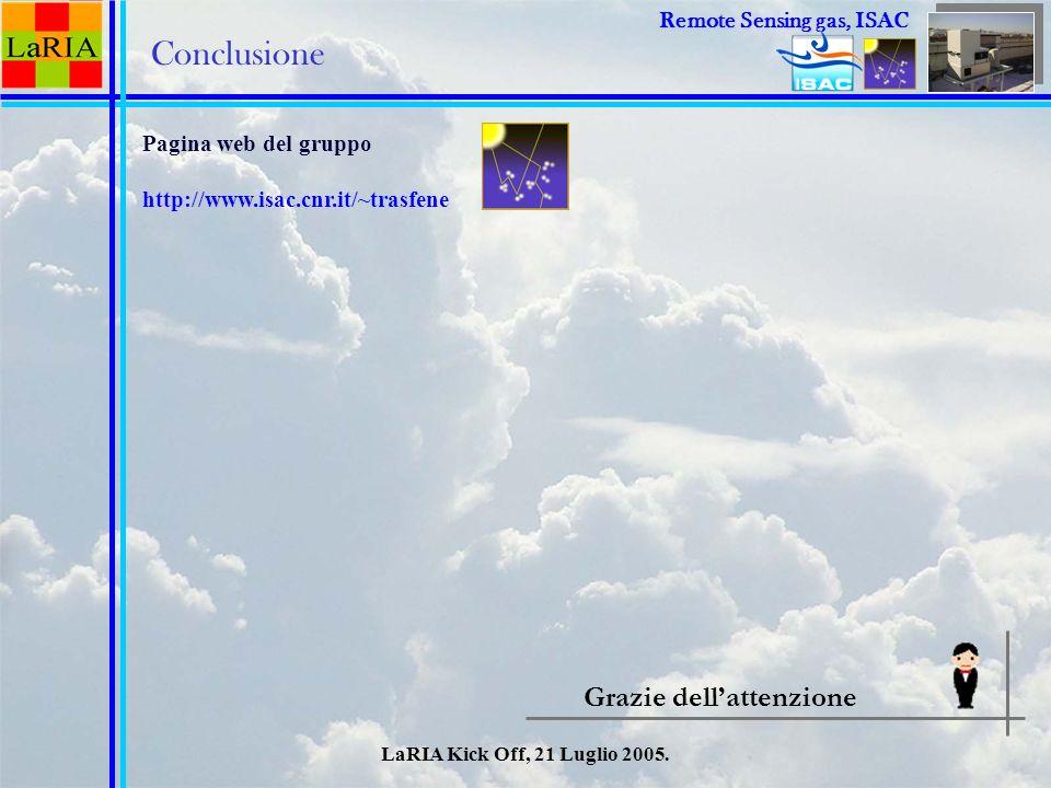 LaRIA Kick Off, 21 Luglio 2005. Conclusione Pagina web del gruppo http://www.isac.cnr.it/~trasfene Grazie dellattenzione Remote Sensing Remote Sensing