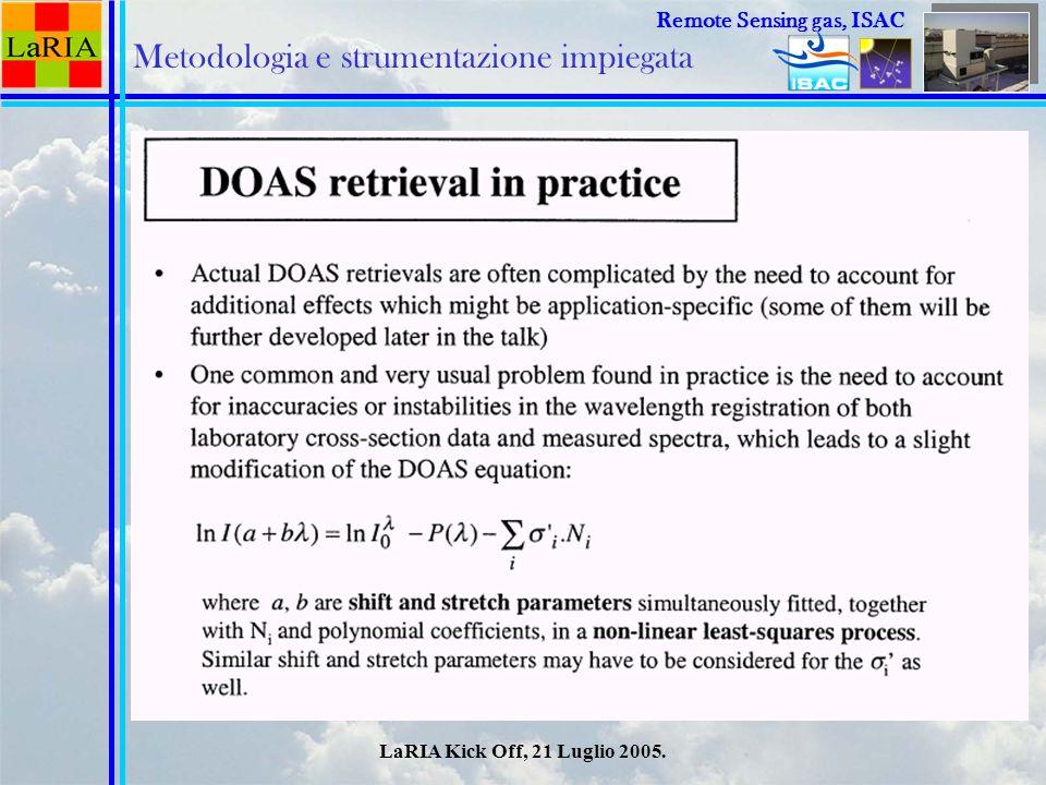 LaRIA Kick Off, 21 Luglio 2005. Remote Sensing Remote Sensing gas, ISAC Metodologia e strumentazione impiegata