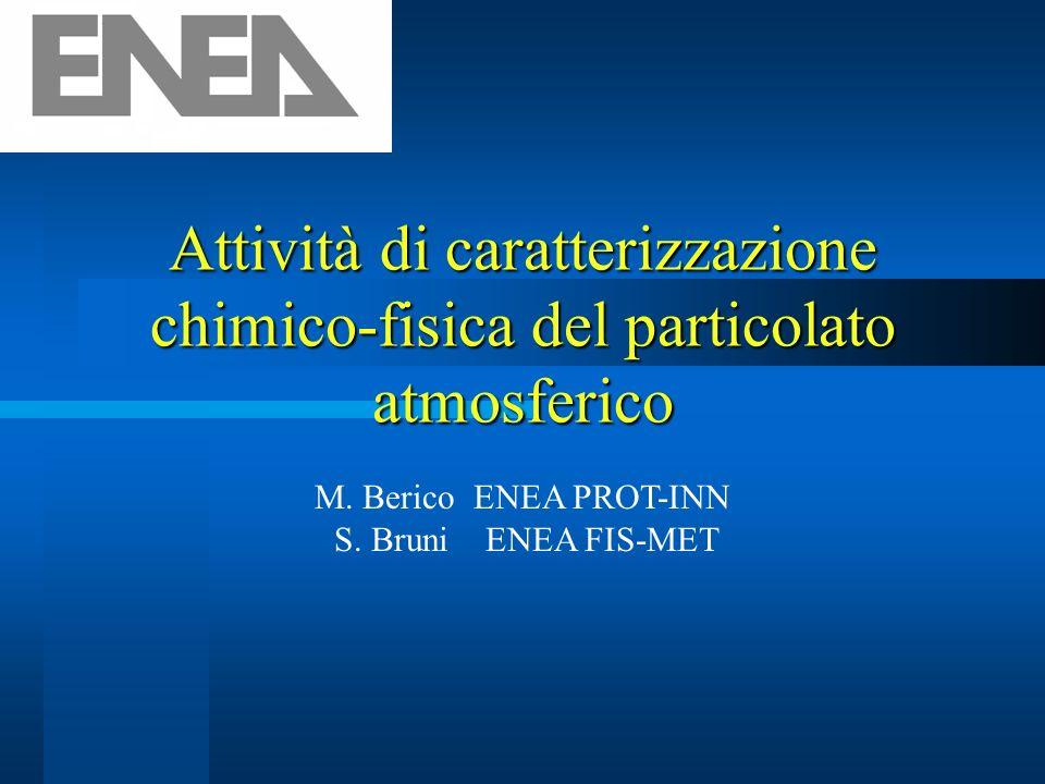 Attività di caratterizzazione chimico-fisica del particolato atmosferico M. Berico ENEA PROT-INN S. Bruni ENEA FIS-MET