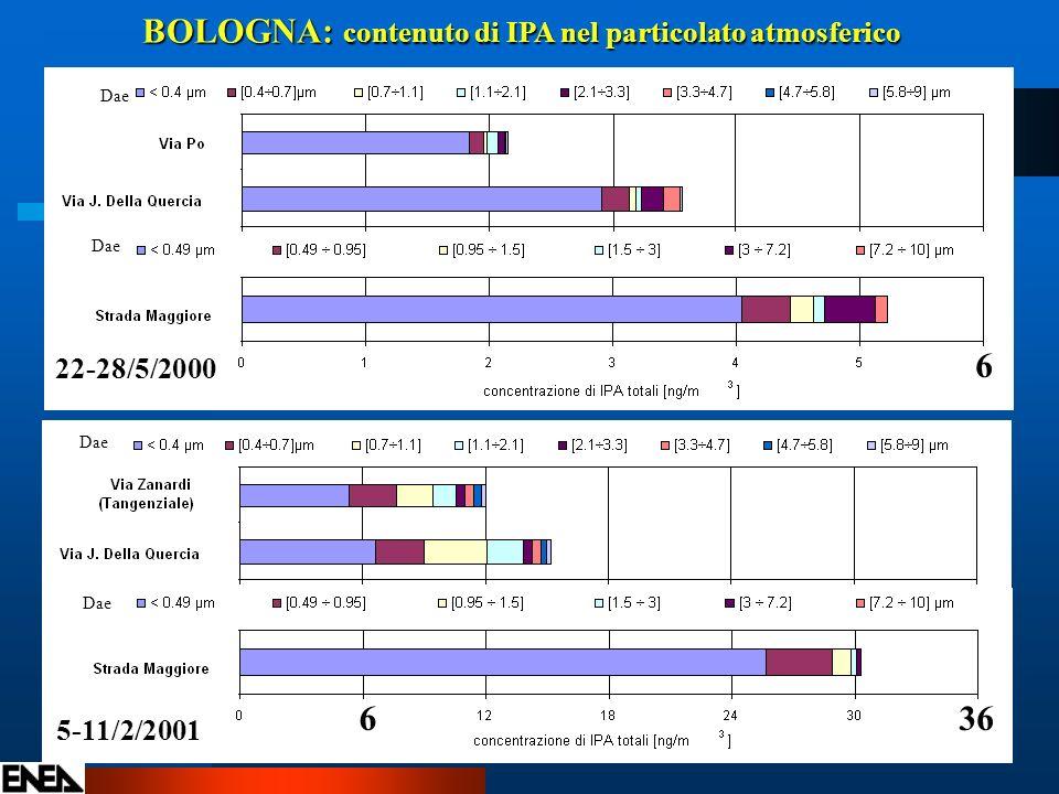 BOLOGNA: contenuto di IPA nel particolato atmosferico 6 636 Dae 22-28/5/2000 5-11/2/2001 Dae
