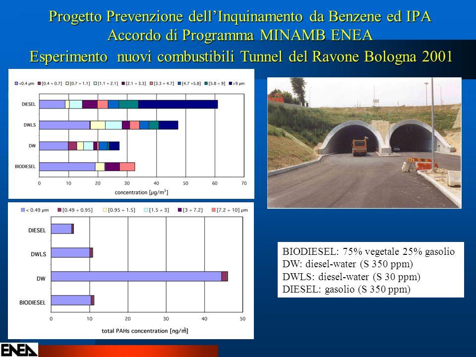 Progetto Prevenzione dellInquinamento da Benzene ed IPA Accordo di Programma MINAMB ENEA Esperimento nuovi combustibili Tunnel del Ravone Bologna 2001