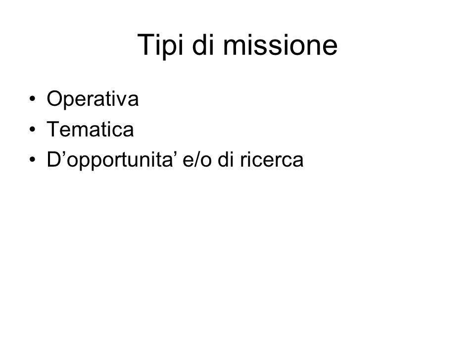 Tipi di missione Operativa Tematica Dopportunita e/o di ricerca