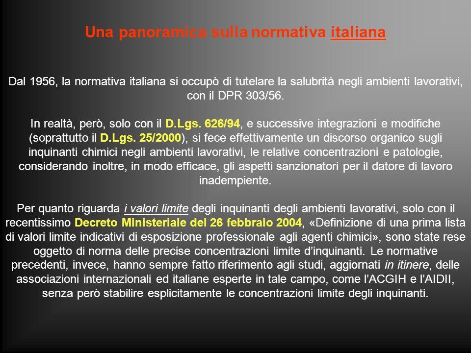 Una panoramica sulla normativa italiana Dal 1956, la normativa italiana si occupò di tutelare la salubrità negli ambienti lavorativi, con il DPR 303/5