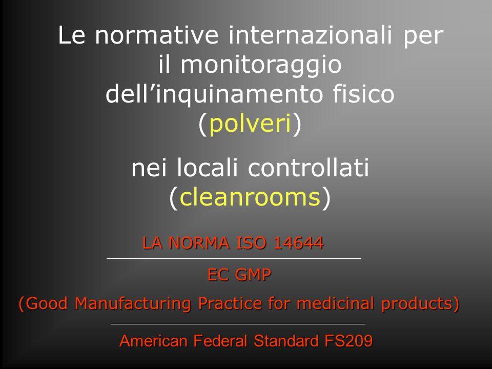 Le normative internazionali per il monitoraggio dellinquinamento fisico (polveri) nei locali controllati (cleanrooms) LA NORMA ISO 14644 LA NORMA ISO