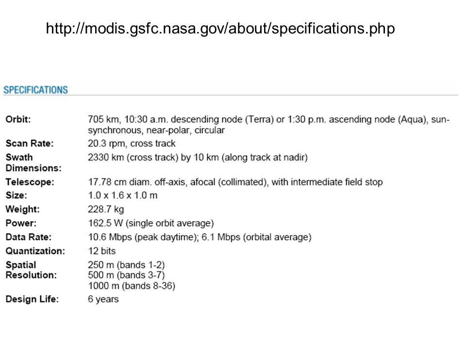 http://modis.gsfc.nasa.gov/about/specifications.php
