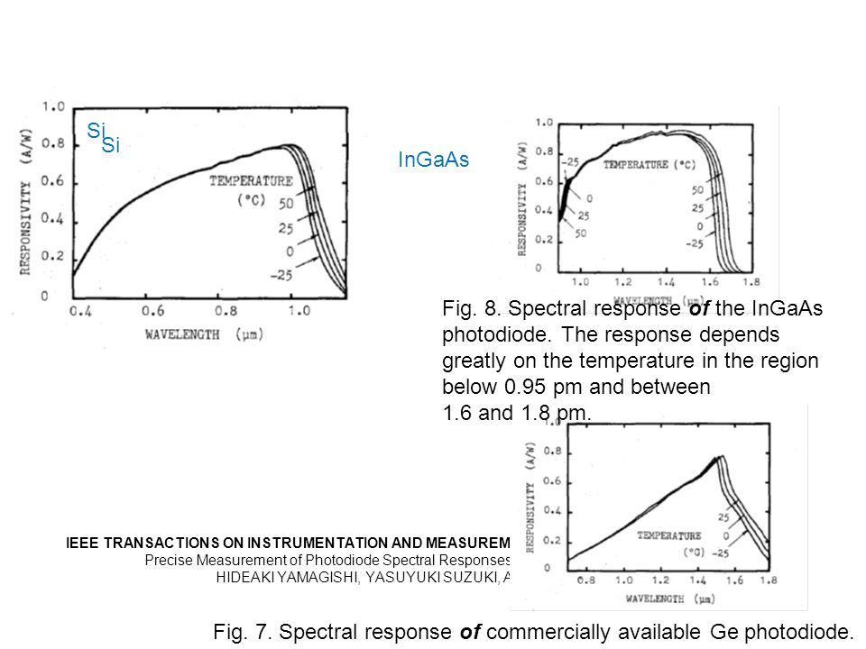 IEEE TRANSACTIONS ON INSTRUMENTATION AND MEASUREMENT, VOL 38, NO 2, APRIL 1989, 578-580 Precise Measurement of Photodiode Spectral Responses Using the Calorimetric Method HIDEAKI YAMAGISHI, YASUYUKI SUZUKI, AND AKIO HIRAIDE Si Fig.