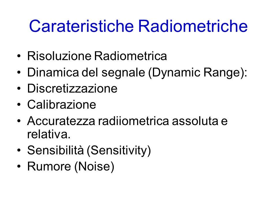Carateristiche Radiometriche Risoluzione Radiometrica Dinamica del segnale (Dynamic Range): Discretizzazione Calibrazione Accuratezza radiiometrica assoluta e relativa.