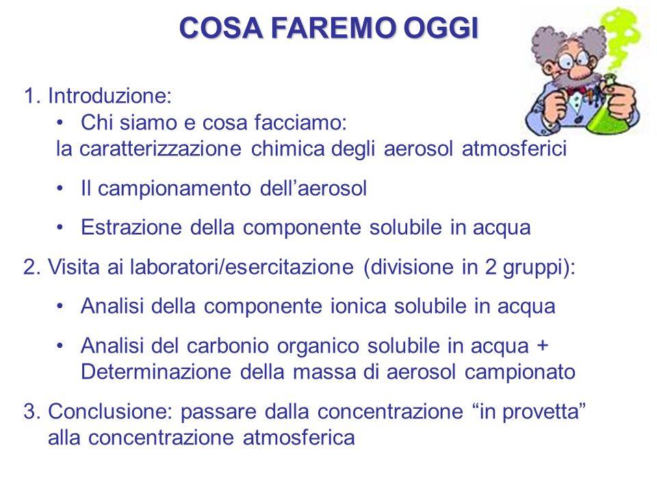 COSA FAREMO OGGI 1.Introduzione: Chi siamo e cosa facciamo: la caratterizzazione chimica degli aerosol atmosferici Il campionamento dellaerosol Estraz