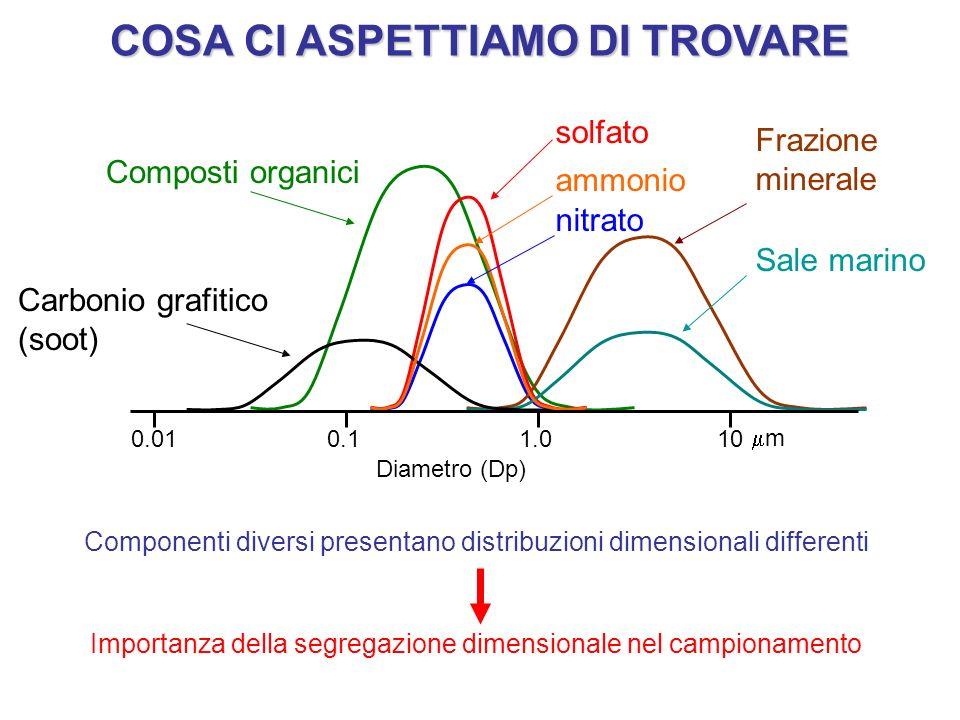 AEROSOL ATMOSFERICI: IL CAMPIONAMENTO Il campionamento è unoperazione fondamentale per studiare la concentrazione e la composizione chimica dellaerosol AEROSOL BULK MEASUREMENT SIZE-SEGREGATED MEASUREMENT SINGLE-PARTICLE ANALYSIS CAMPIONAMENTO SEGREGATO DIMENSIONALMENTE ANALISI DI SINGOLA PARTICELLA CAMPIONAMENTO TRADIZIONALE ESEMPIO: PM10 10 1001000L/minFlusso basso volumemedio volumealto volume