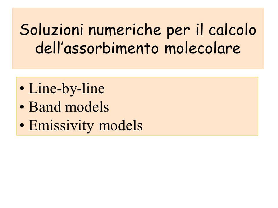 Soluzioni numeriche per il calcolo dellassorbimento molecolare Line-by-line Band models Emissivity models