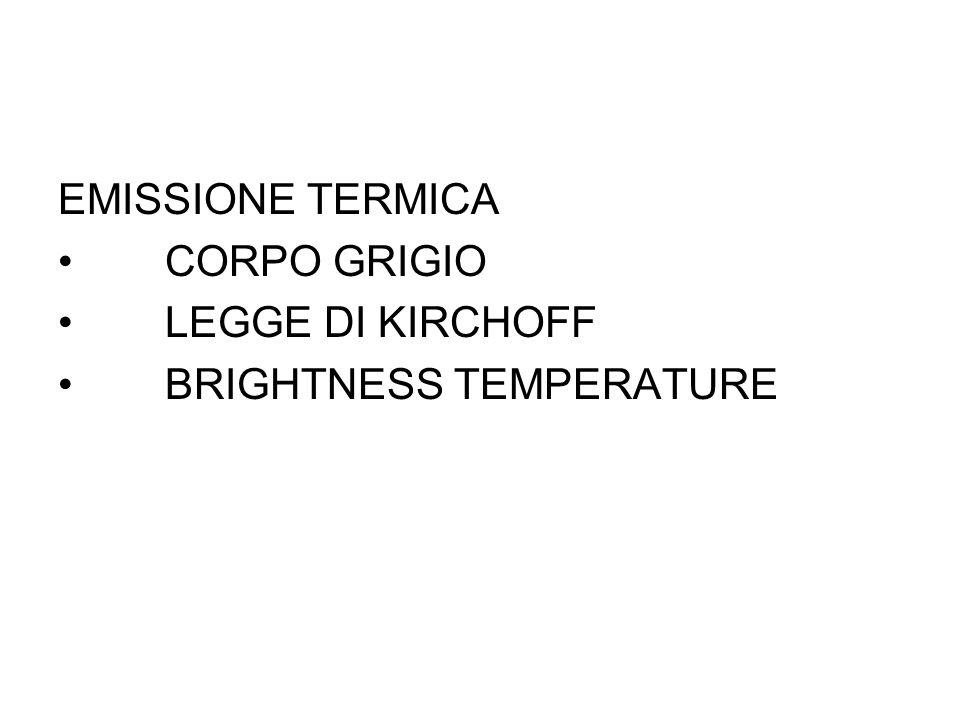EMISSIONE TERMICA CORPO GRIGIO LEGGE DI KIRCHOFF BRIGHTNESS TEMPERATURE