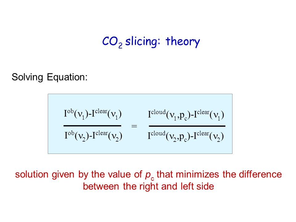 CO 2 slicing: theory Solving Equation: I ob ( )-I clear ( ) I cloud (,p c )-I clear ( ) I cloud ( p c )-I clear ( ) = solution given by the value of p c that minimizes the difference between the right and left side