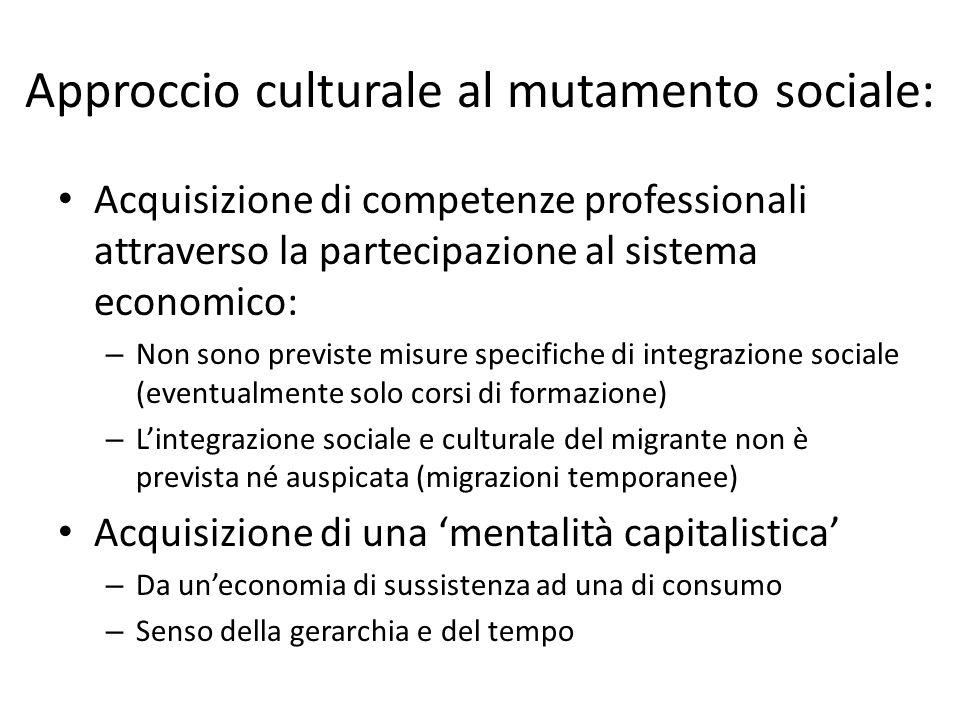 Approccio culturale al mutamento sociale: Acquisizione di competenze professionali attraverso la partecipazione al sistema economico: – Non sono previ