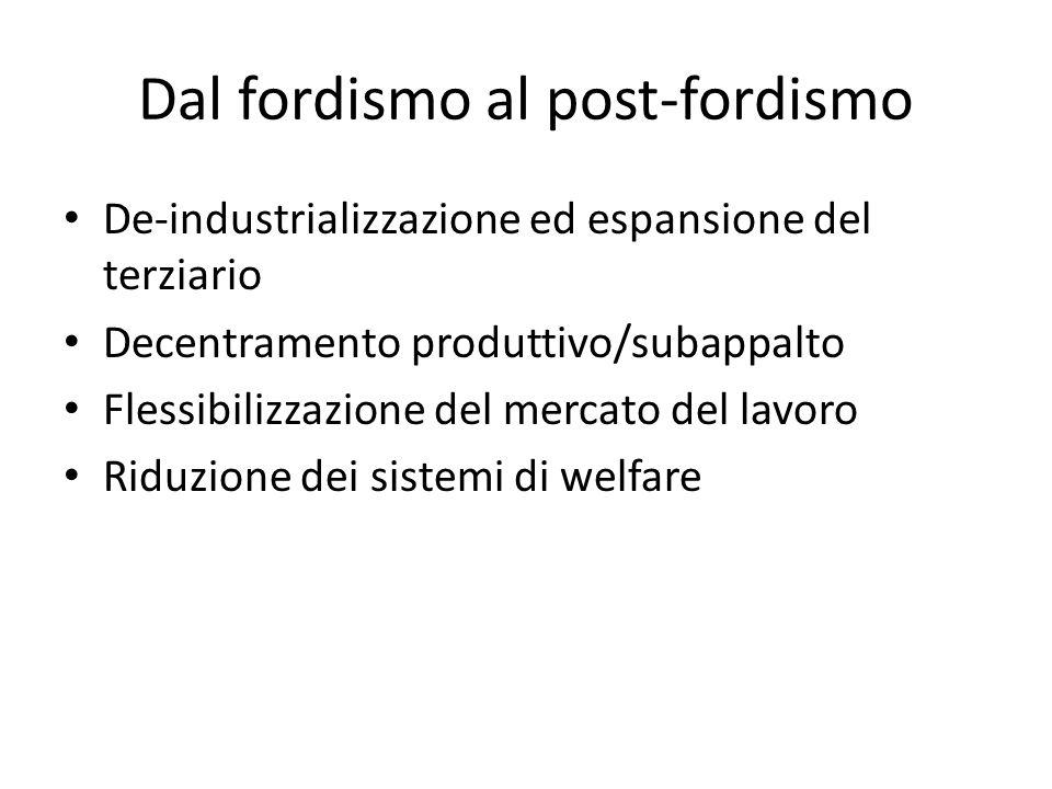 Dal fordismo al post-fordismo De-industrializzazione ed espansione del terziario Decentramento produttivo/subappalto Flessibilizzazione del mercato de