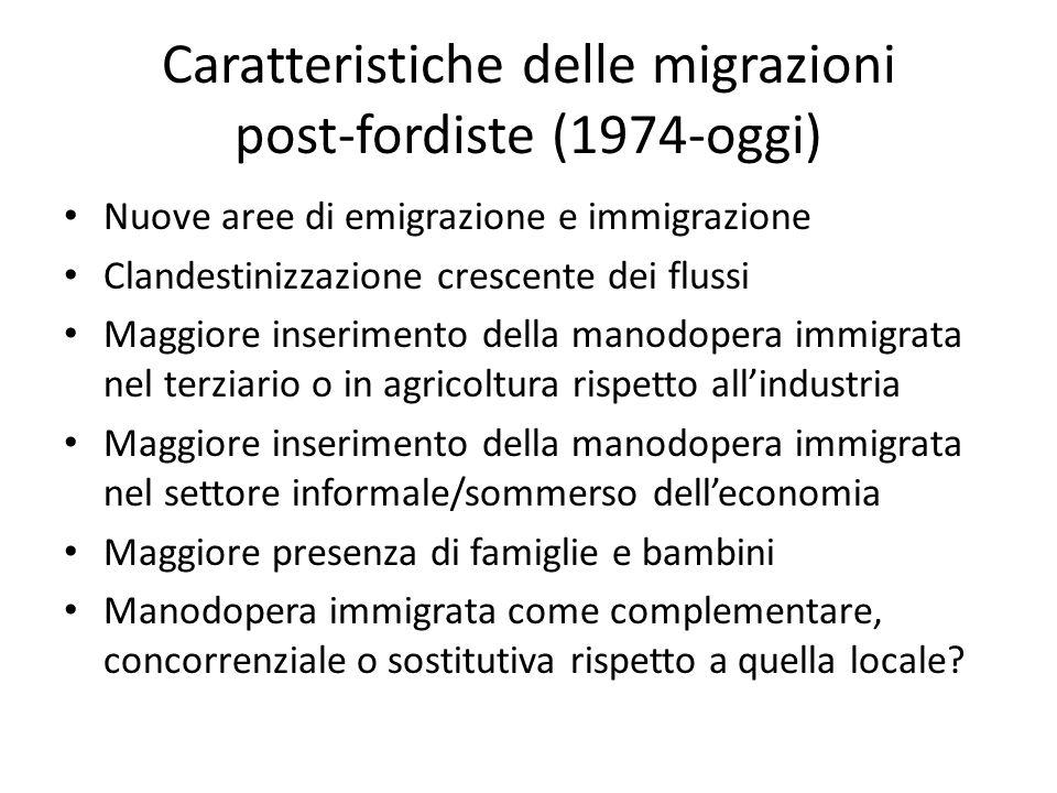 Caratteristiche delle migrazioni post-fordiste (1974-oggi) Nuove aree di emigrazione e immigrazione Clandestinizzazione crescente dei flussi Maggiore